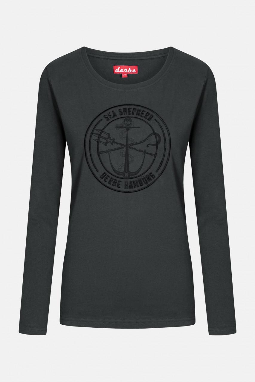 Derbe Barbe Mono LS Sea Shepherd Gots Organic Damen Langarm Shirt Schwarz