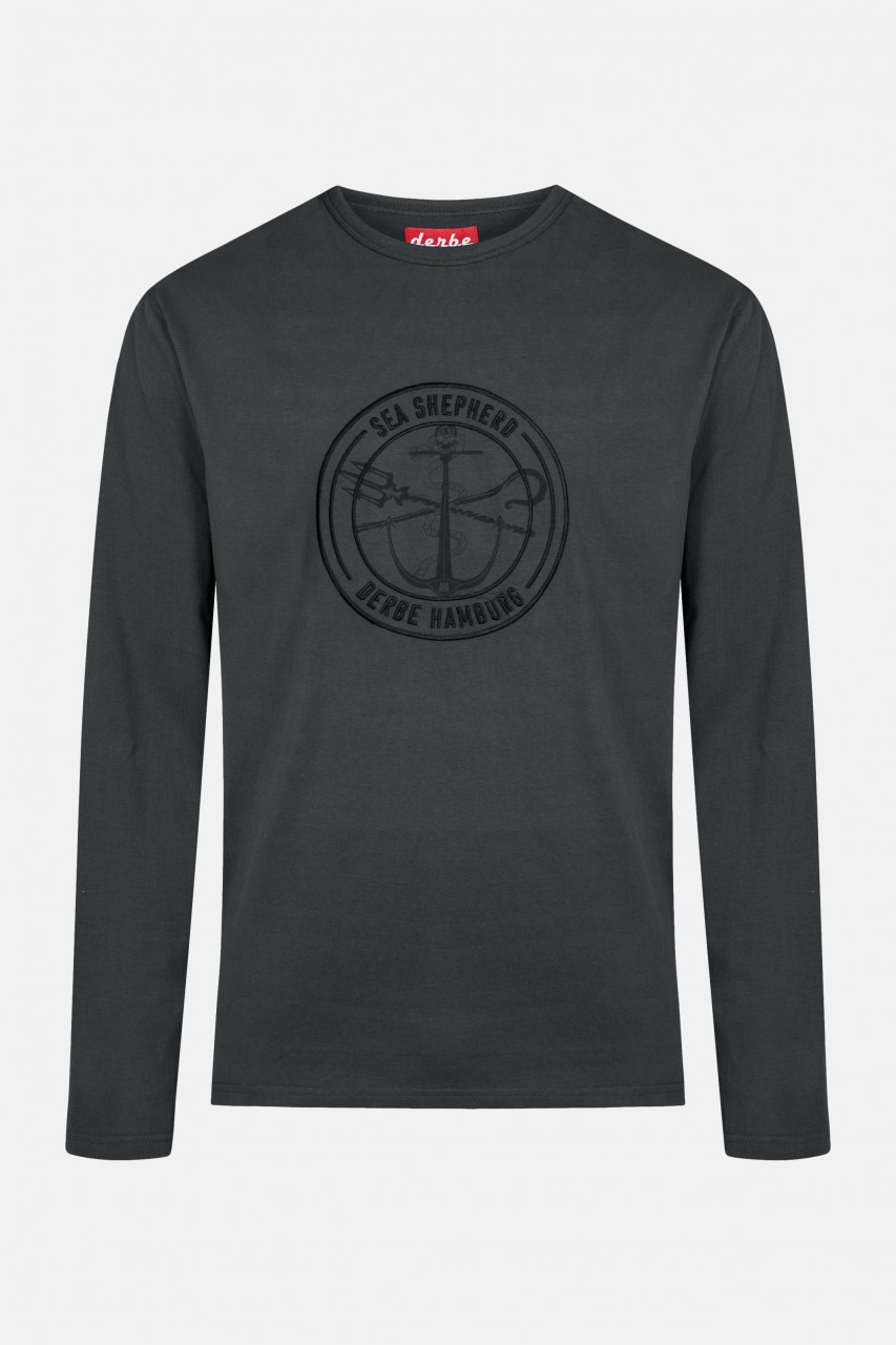 Derbe Barsch Mono LS Sea Shepherd Gots Organic Herren Langarm Shirt Schwarz