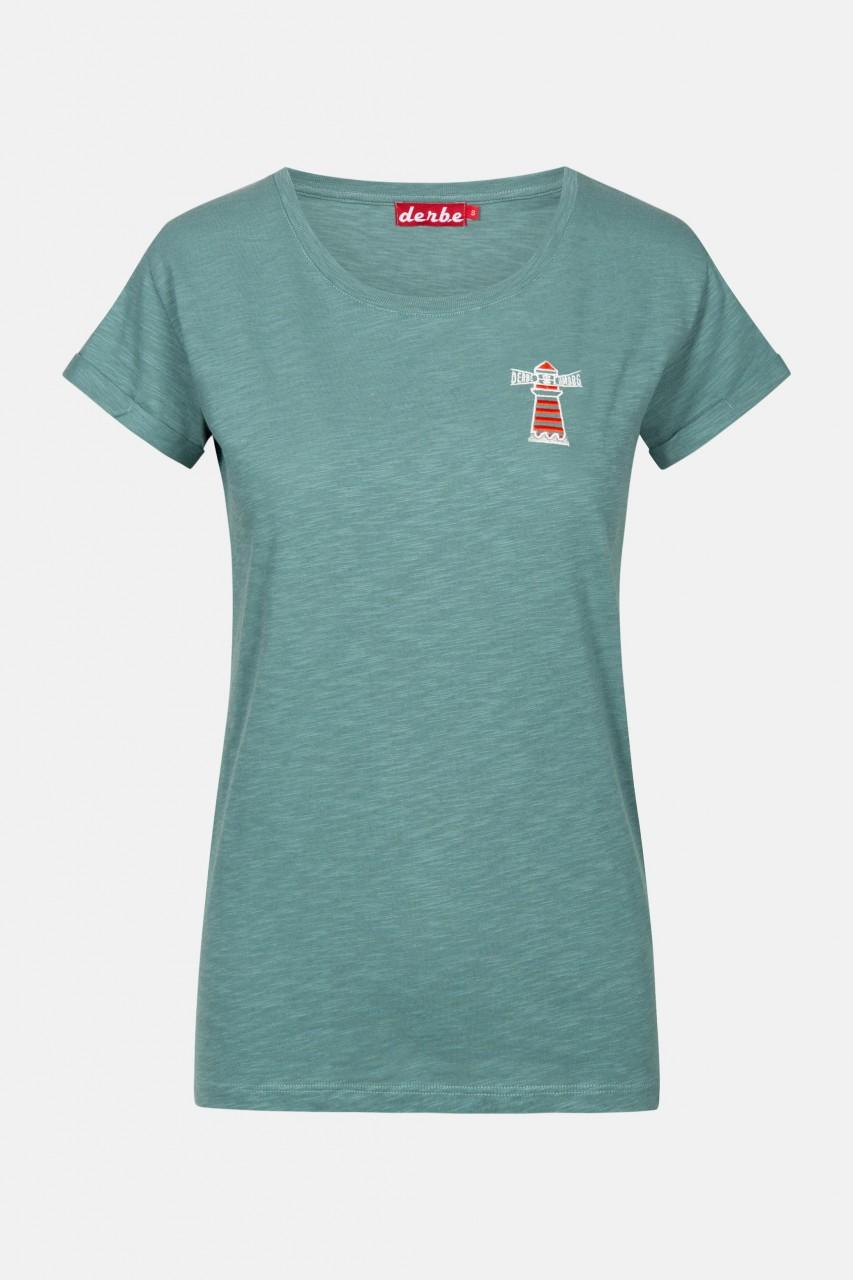 Derbe Beam Stick Damen T-Shirt Grün Türkis Leuchtturm