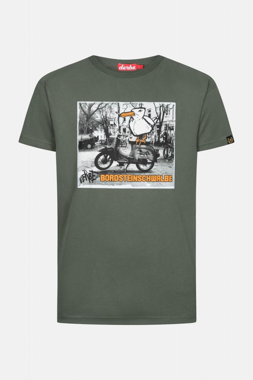 Derbe Bordsteinschwalbe Herren T-Shirt Oliv