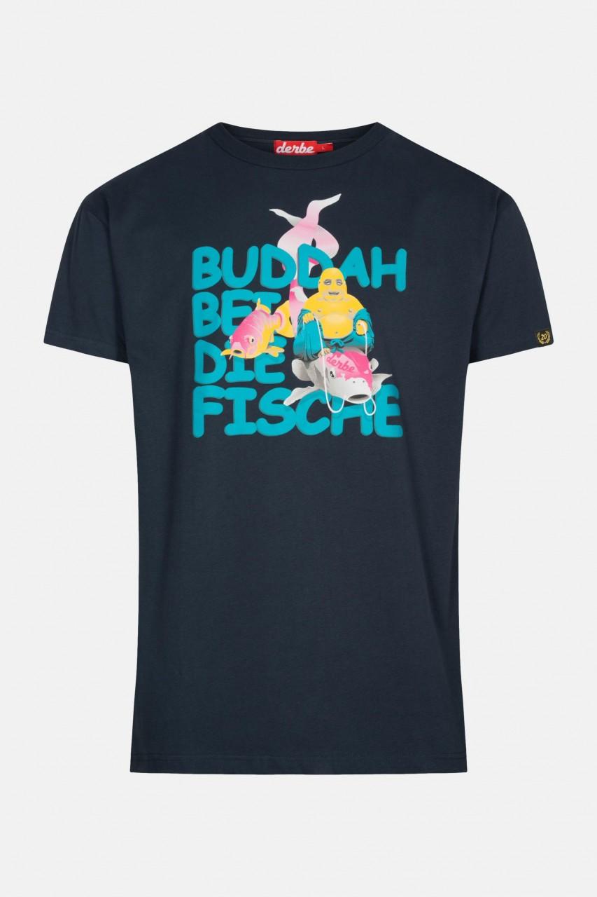 Derbe Buddha bei die Fische Herren T-Shirt Navy Dunkelblau