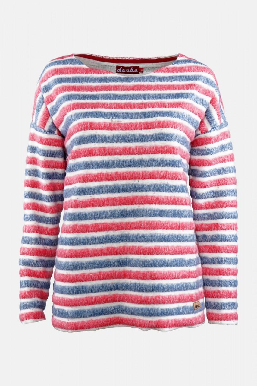Derbe Damen Pullover Courtney Cream Blau Rot Gestreift