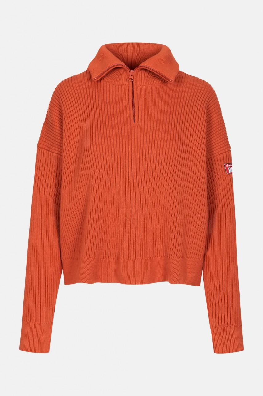 Derbe Damen Troyer Gots Organic Pullover Burnt Ochre Rostrot