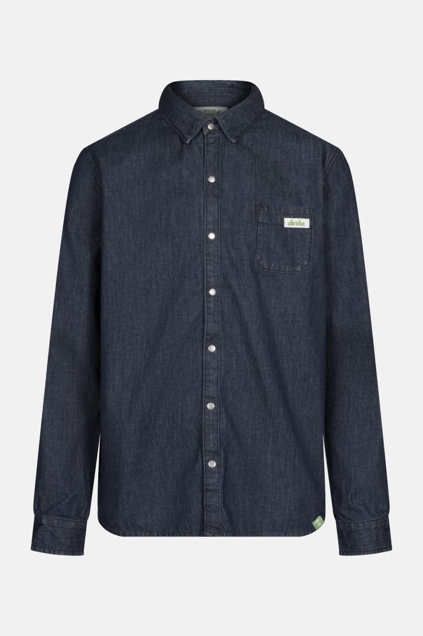 Derbe Dean Denim Gots Organic Herren Hemd Shirt Jeans Blau