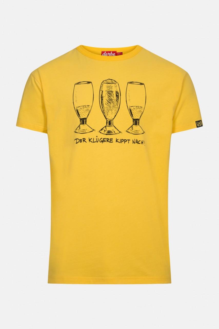 Derbe Der Klügere kippt nach Herren T-Shirt Yellow Gelb Bier