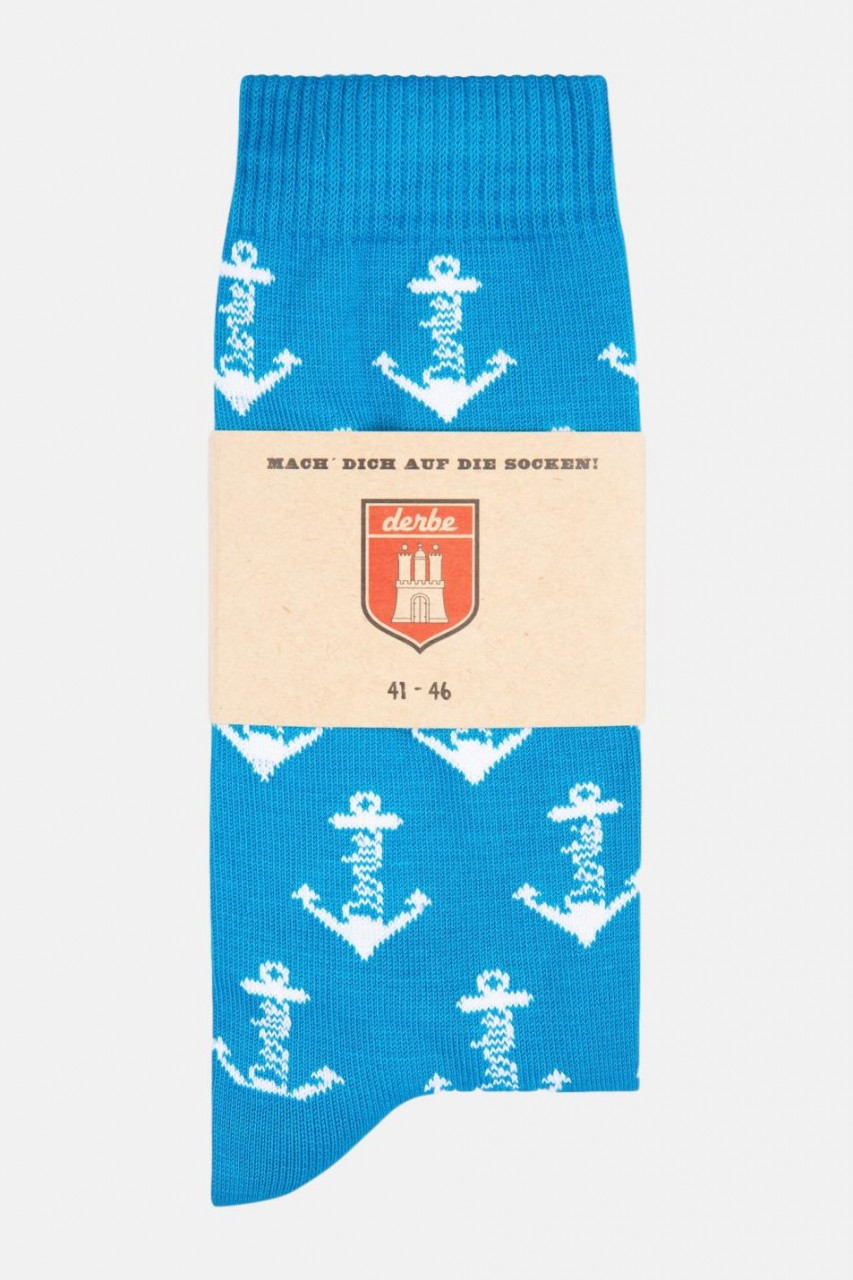 Derbe Herren Socken Blau Anker (Gr. 41-46)
