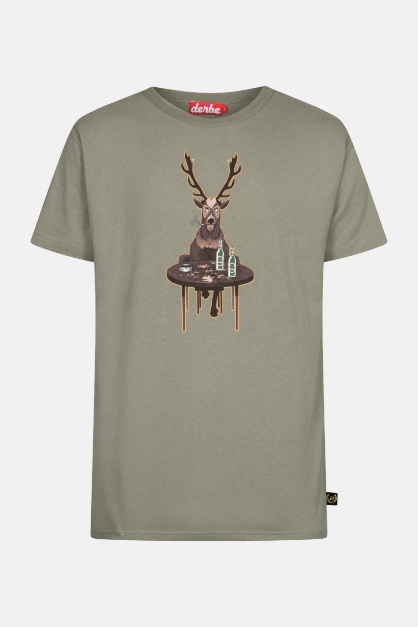 Derbe Wild Herren T-Shirt Oliv Hirsch