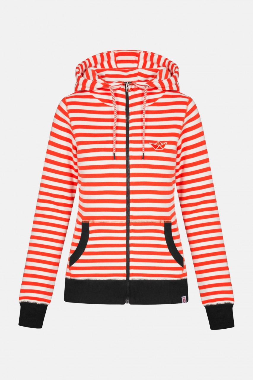 Derbe Easy Sea Damen Sweatjacke Streifen Orange-Rot Weiß