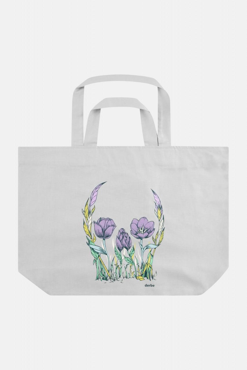 Derbe Flower Skull Bag Light Grey Tasche Blumen Schädel Hellgrau