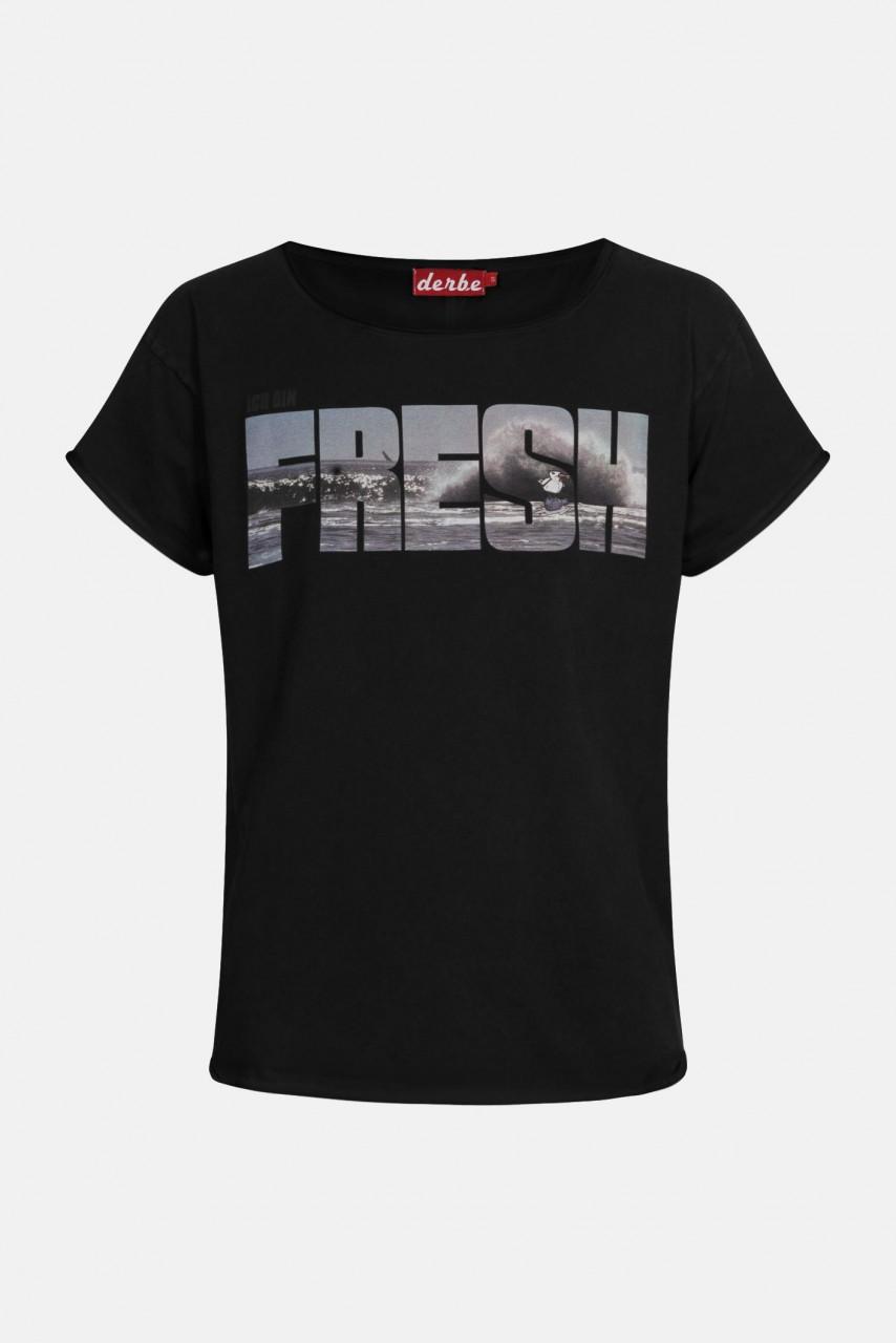Derbe Fresh Damen Shirt Schwarz Welle
