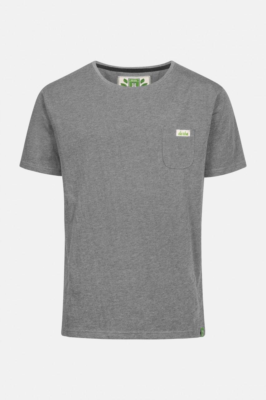 Derbe Gideon Herren Shirt Gots Organic Hellgrau Melange Bio