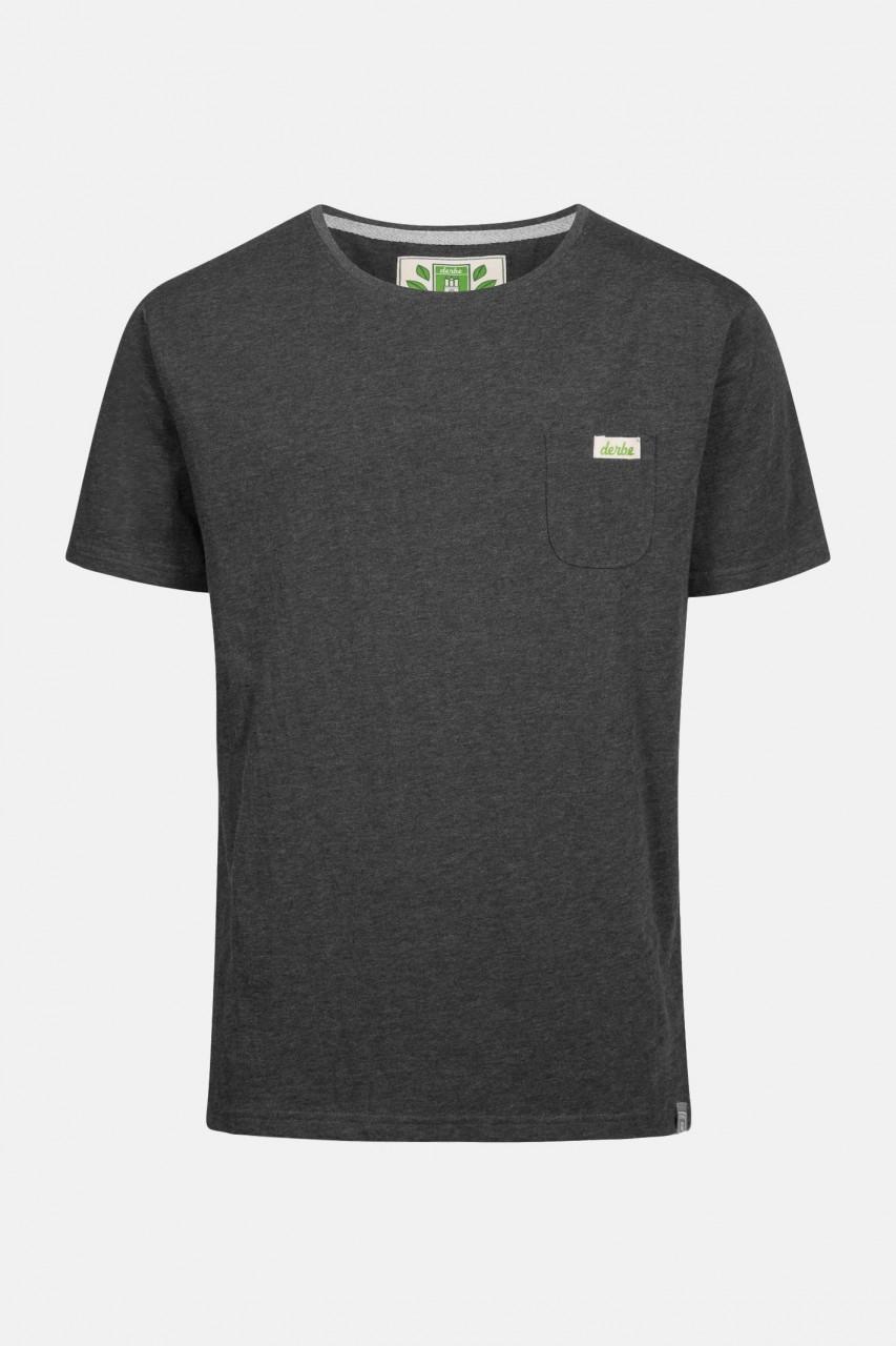 Derbe Gideon Herren Shirt Gots Organic Anthrazit Melange Bio