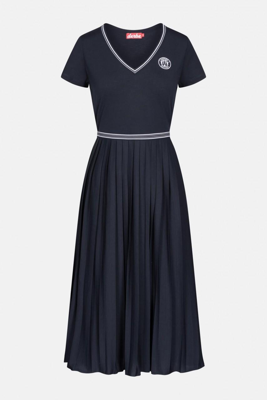 Derbe Girls Dress Damen Kleid Navy Dunkelblau V-Ausschnitt