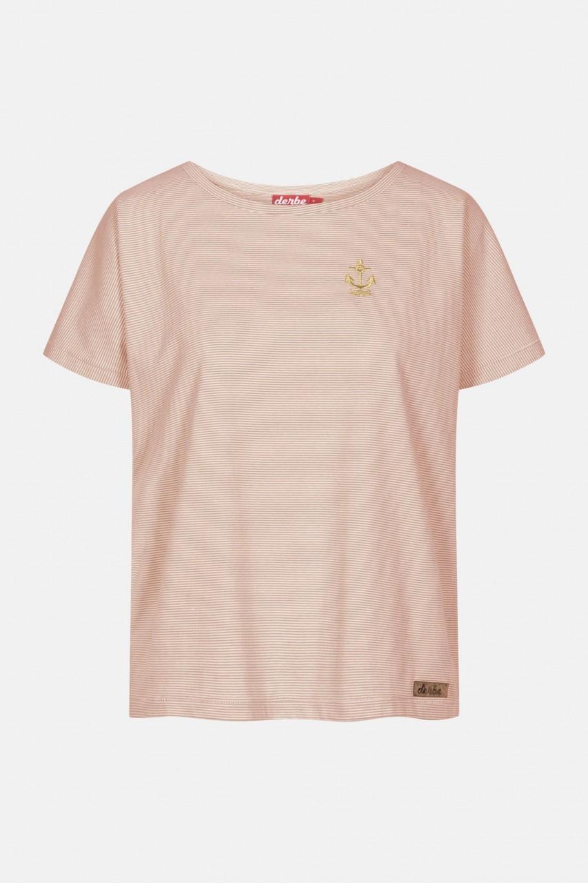 Derbe Golden Anchor Damen T-Shirt Burnt Ochre Rostrot Gestreift