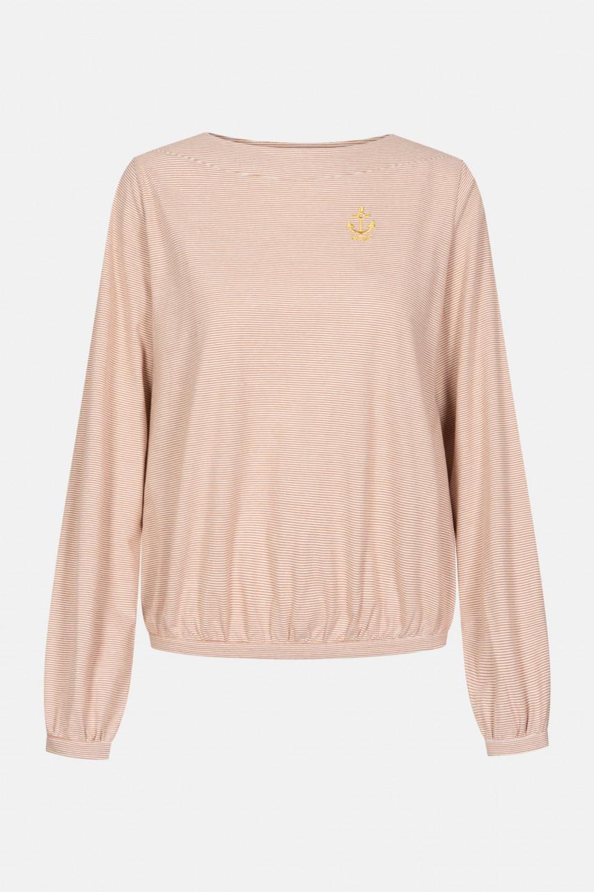 Derbe Golden Anchor LS Damen Langarm Shirt Burnt Ochre Rostrot Streifen