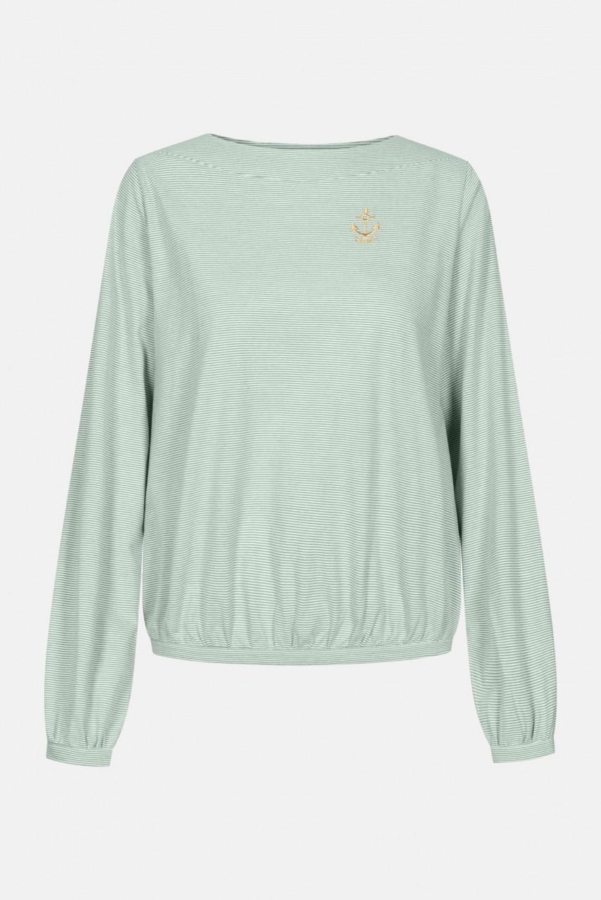 Derbe Golden Anchor LS Damen Langarm Shirt Lily Pad Grün Gestreift