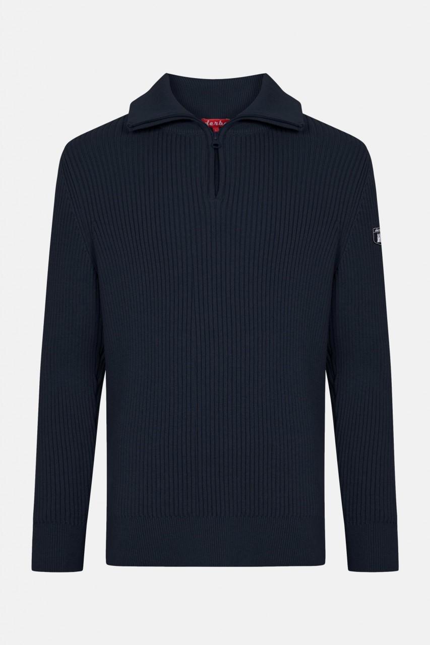 Derbe Herren Troyer Gots Organic Pullover Navy Dunkelblau