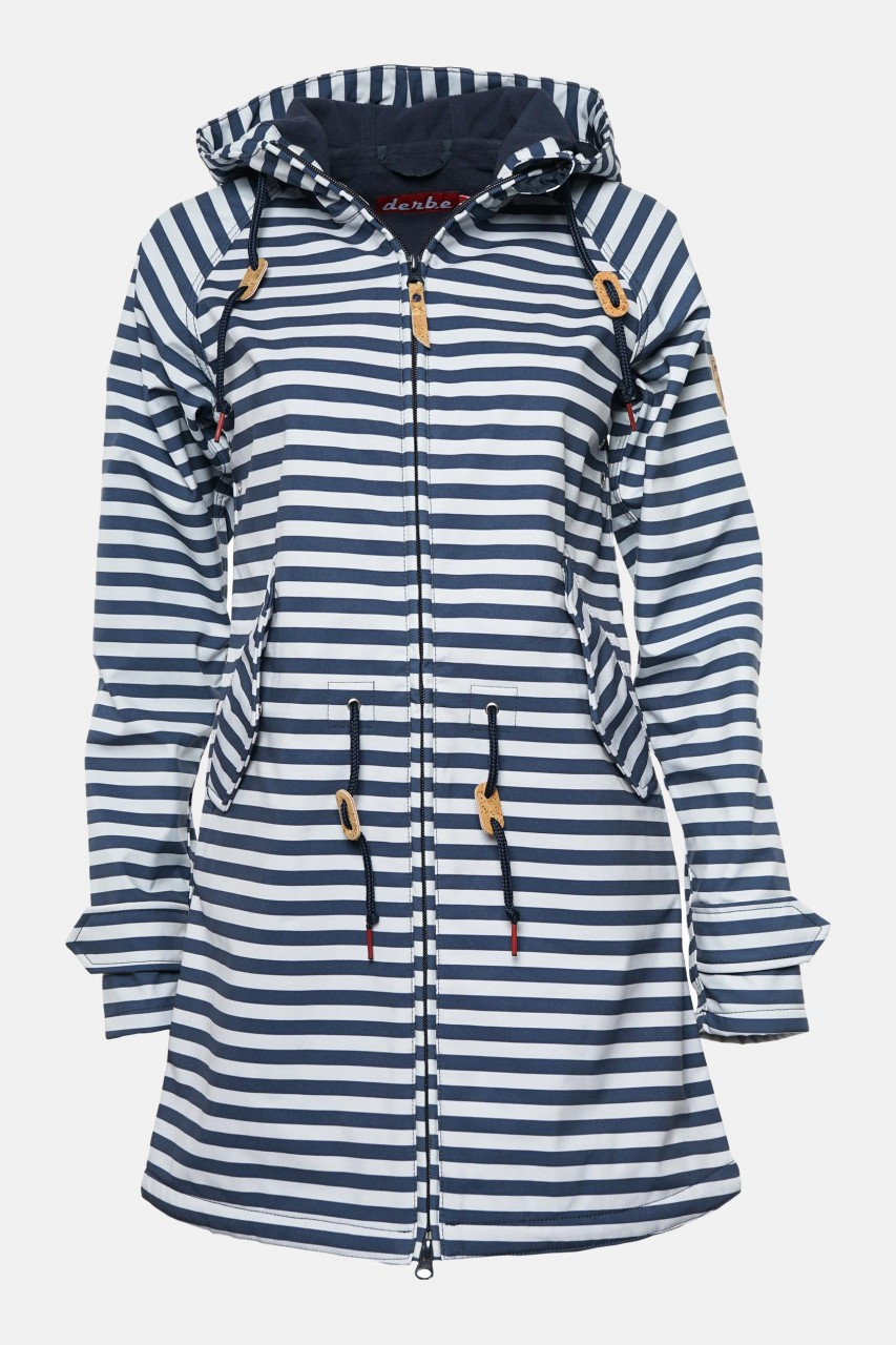 Derbe Island Friese Blau Weiß Gestreift Softshell Damen Mantel