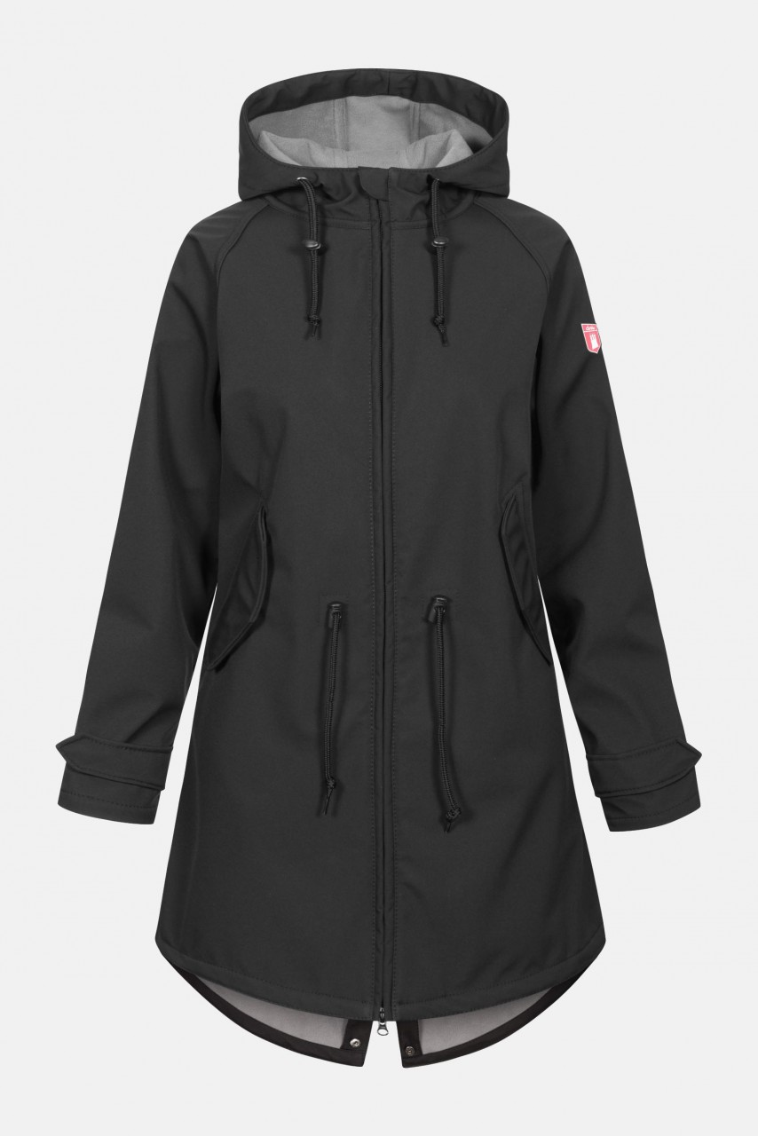 Derbe Island Friese Damen Softshell Mantel Black Grey Schwarz Grau