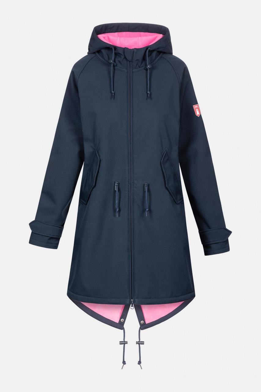 Derbe Island Friese Damen Softshell Mantel Navy Carmine Rose Dunkelblau