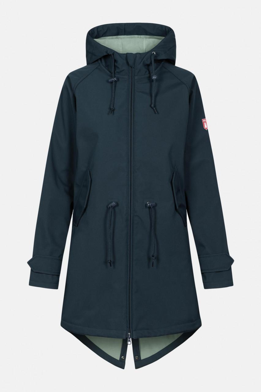 Derbe Island Friese Damen Softshell Mantel Navy Lilypad Dunkelblau