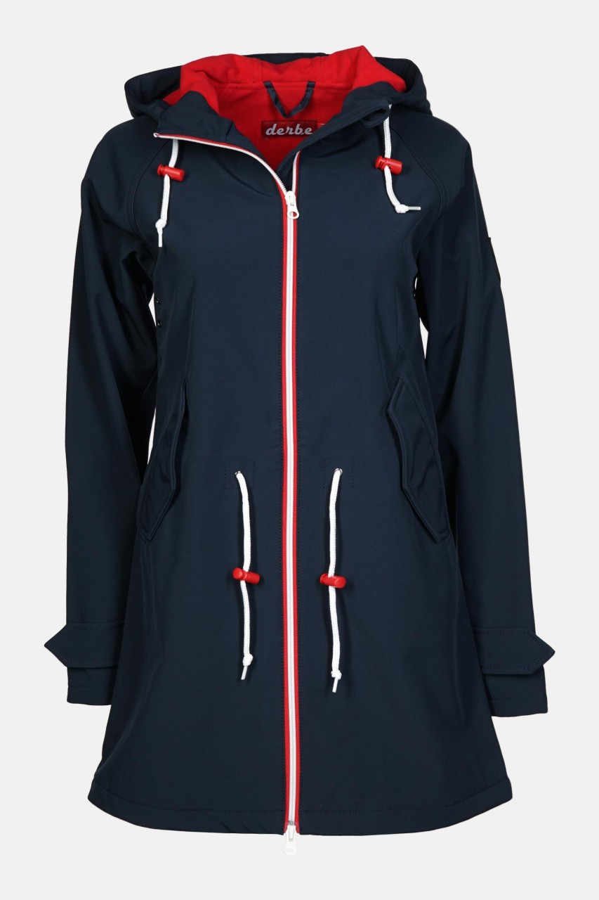 Derbe Island Friese Damen Softshell Mantel Blau Rot