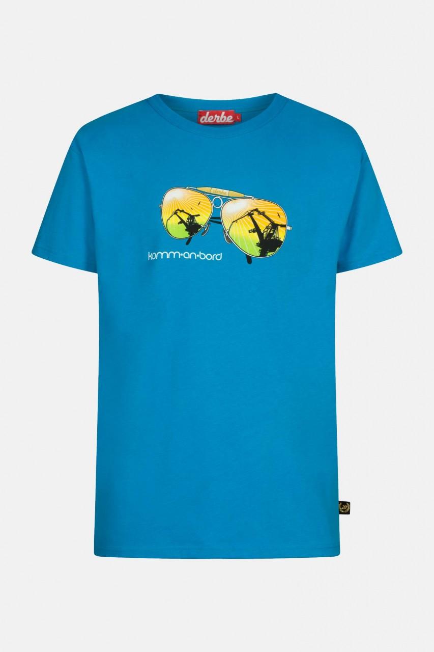 Derbe Komm an Bord Herren T-Shirt Swedish Blue Blau Sonnenbrille