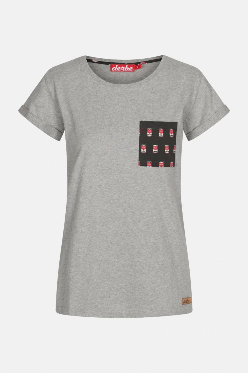 Derbe Labskaus Brusttasche Damen Shirt Grey Melange Grau