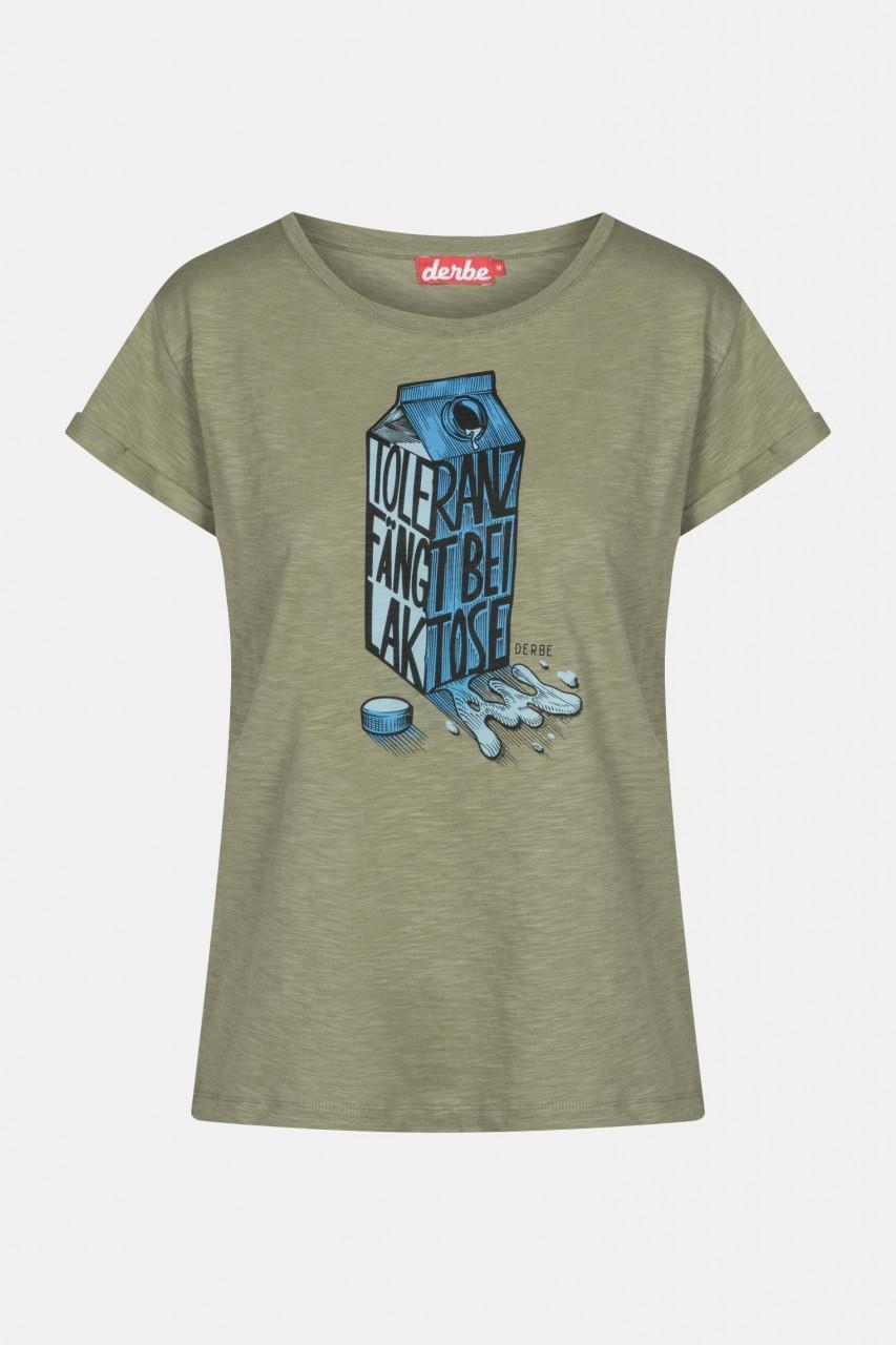 Derbe Laktose Damen T-Shirt Light Oliv