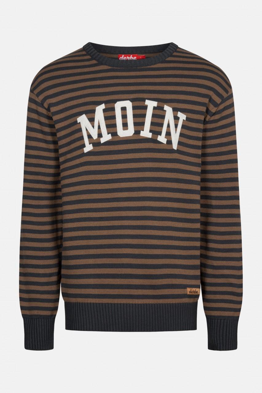Derbe Moin Striped Herren Strickpullover Streifen Phantom Braun