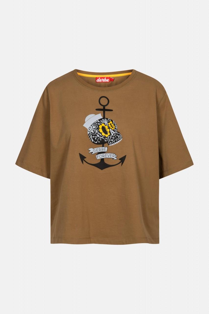 Derbe Mrs Skull Damen T-Shirt Anker Schädel Otter Braun