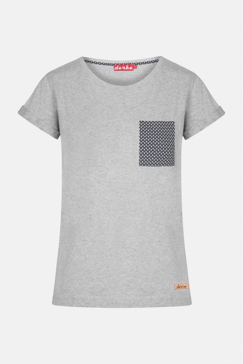 Derbe Petite Ship Pocket Damen T-Shirt Brusttasche Grau