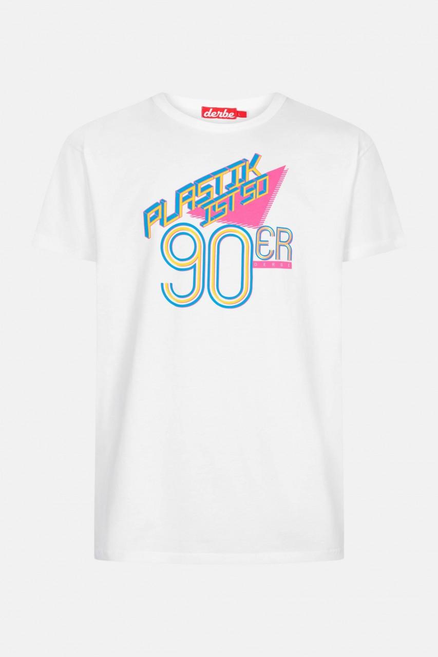 Derbe Plastik ist so 90er Herren Shirt Weiß