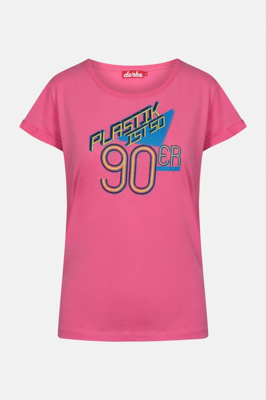 Derbe Plastik ist so 90er Damen Shirt Carmine Rose Pink