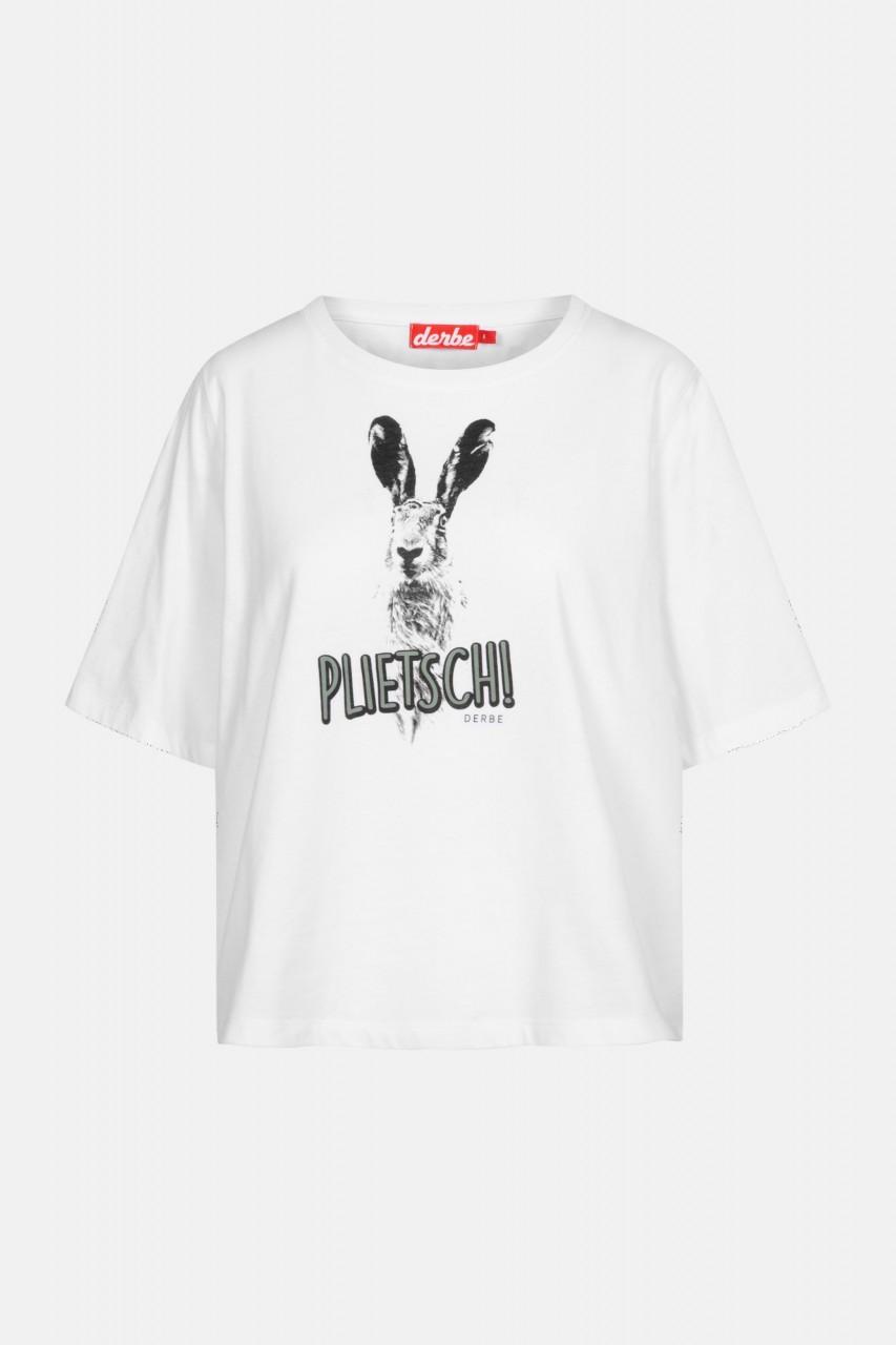 Derbe Plietsch Damen T-Shirt Weiß Hase