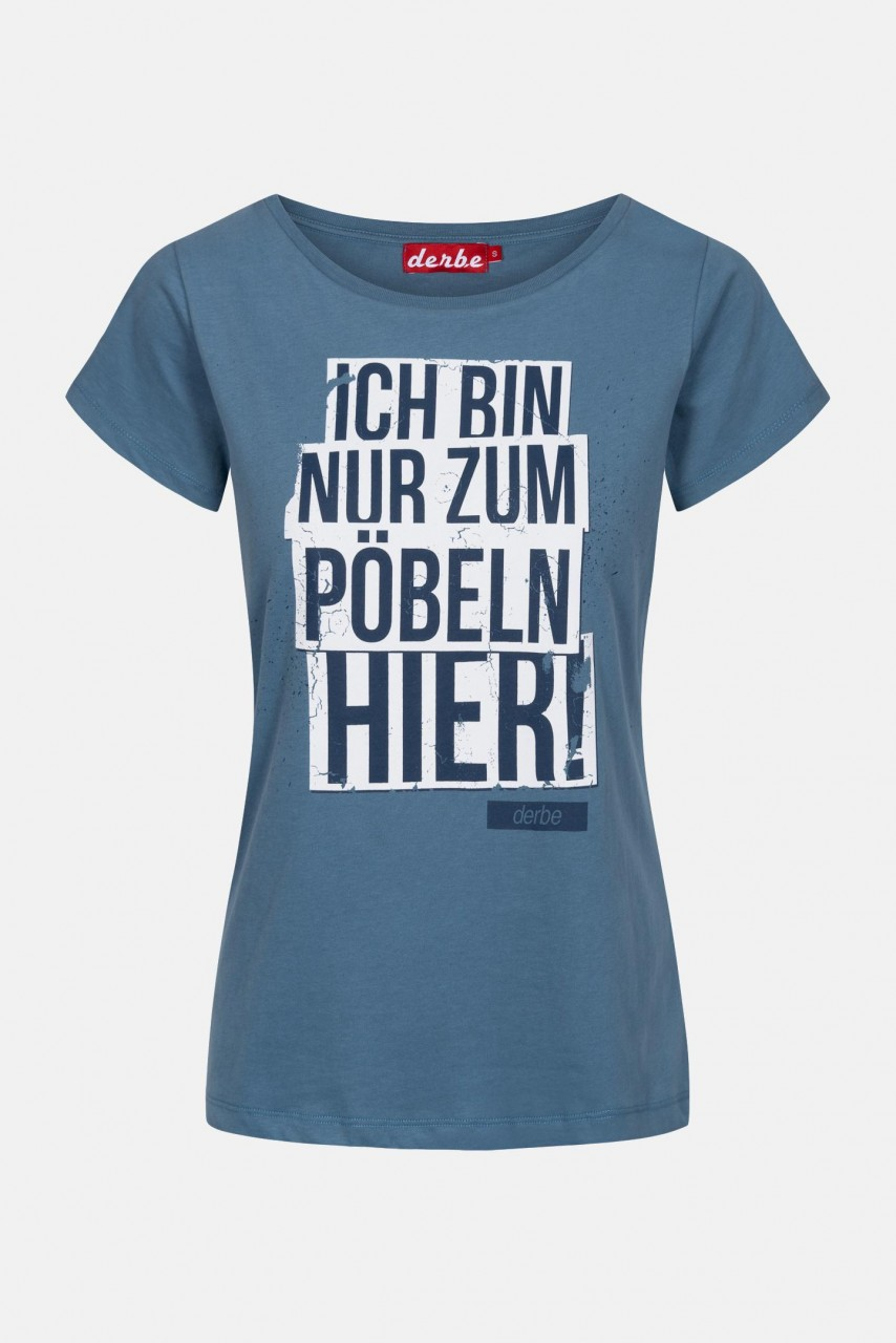Derbe Pöbeln Damen T-Shirt Blau