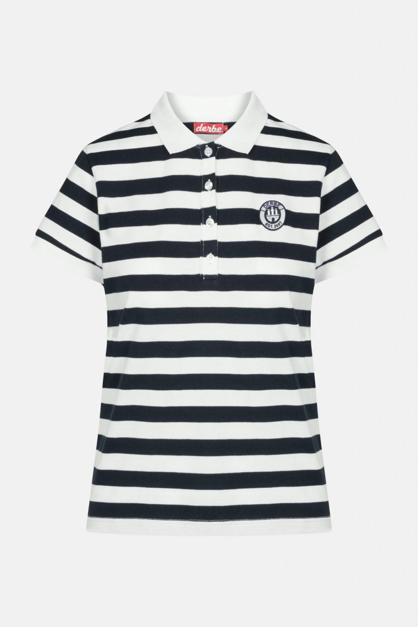 Derbe Polo T-Shirt Damen Blau Weiß Gestreift Retro