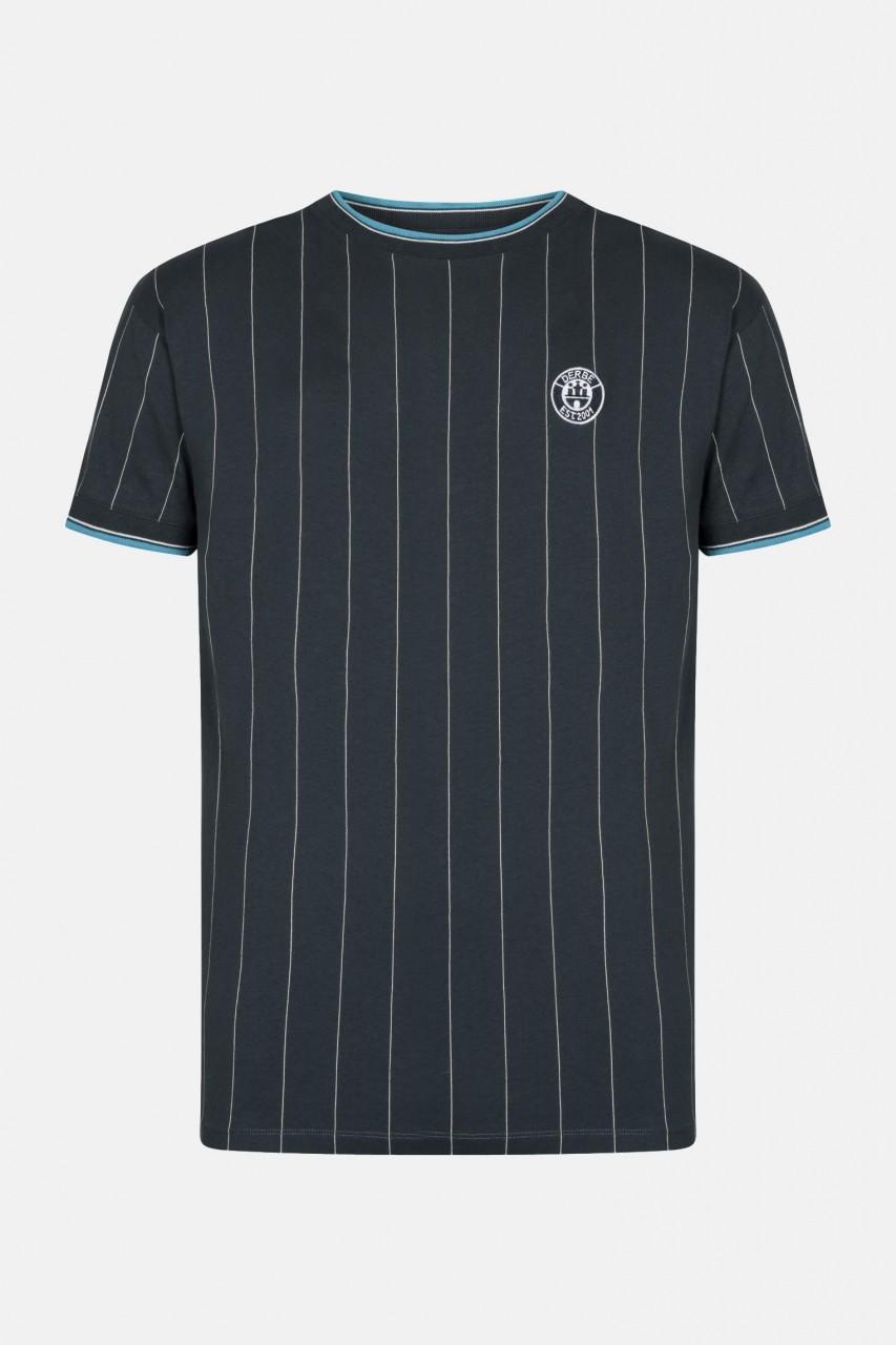 Derbe Retro Herren T-Shirt Navy Dunkelblau Streifen