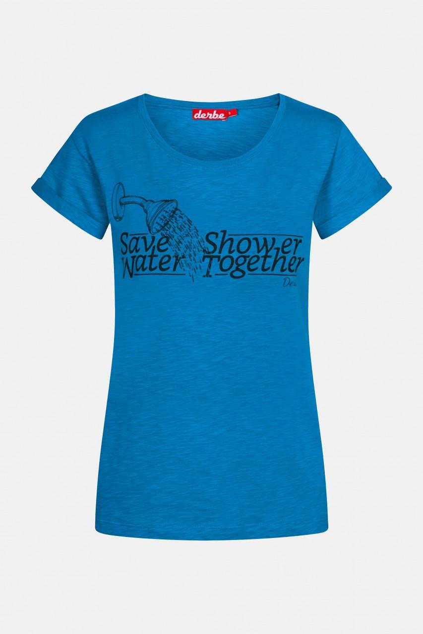 Derbe Save Water Shower Together Damen T-Shirt Blau