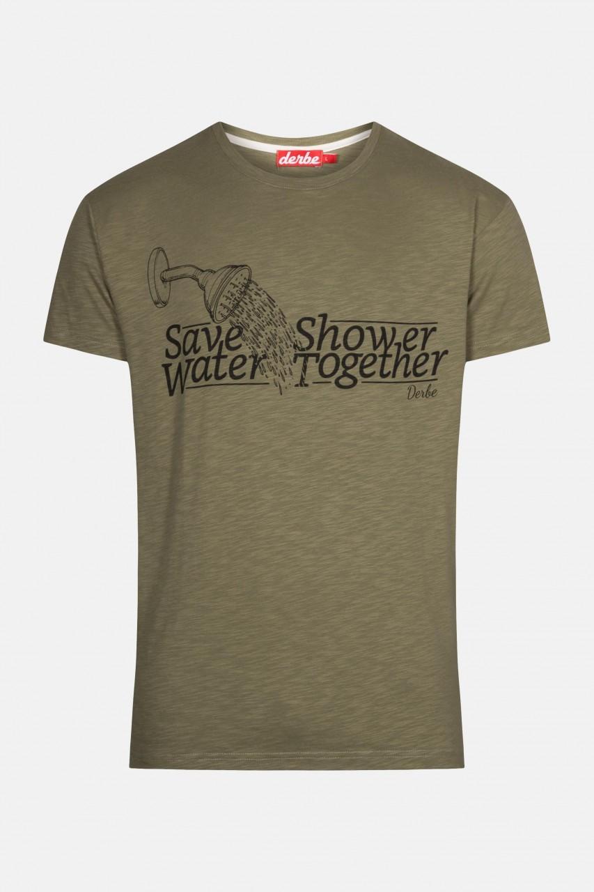 Derbe Save Water Shower Together Herren T-Shirt Dusche Oliv