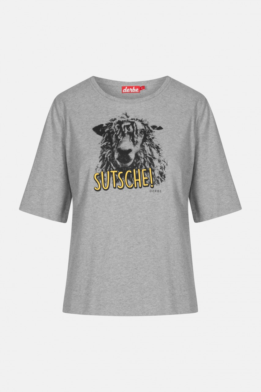 Derbe Schaap Sutsche Damen T-Shirt Grey Melange Grau Schaf