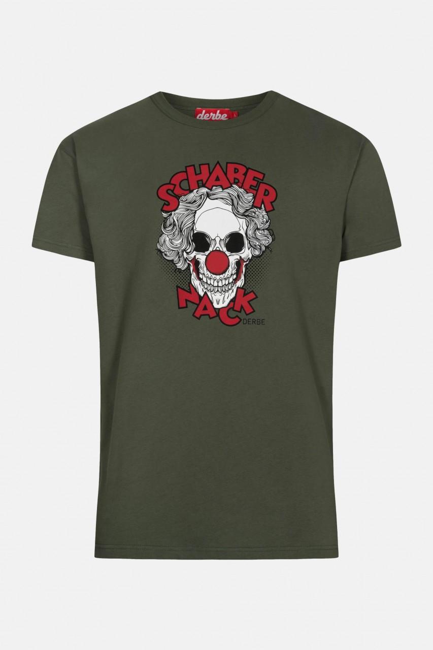 Derbe Schabernack Herren T-Shirt Oliv Clown