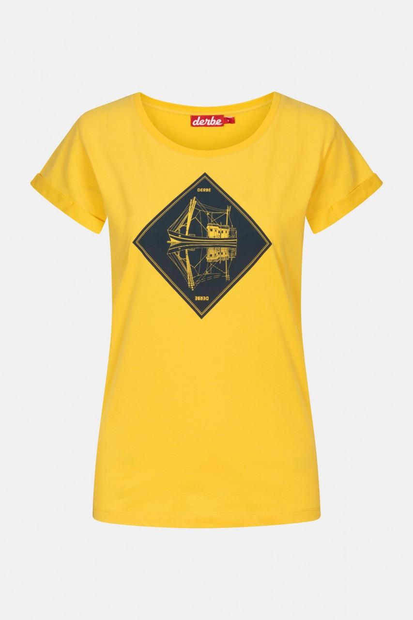 Derbe Schipp Damen T-Shirt Gelb Schiff