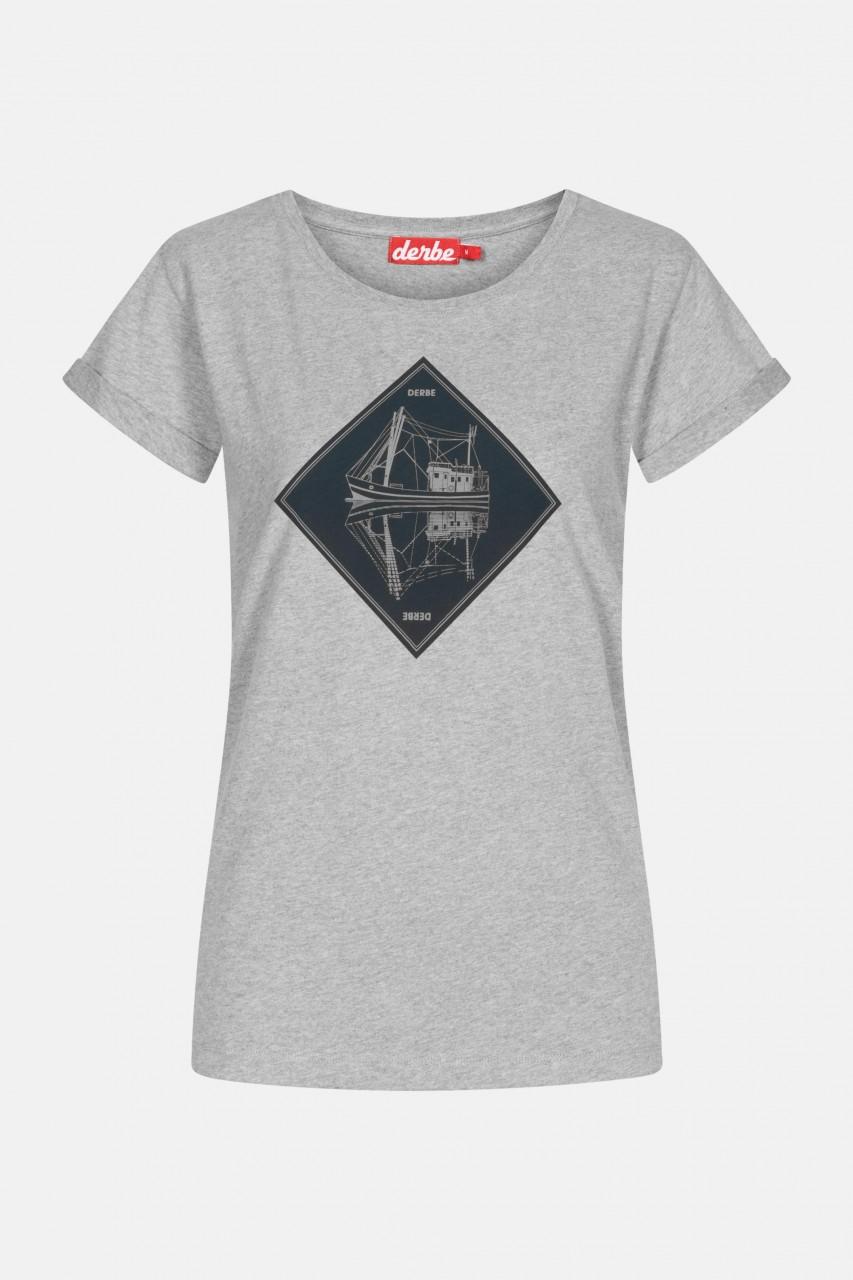Derbe Schipp Damen T-Shirt Grey Melange Grau