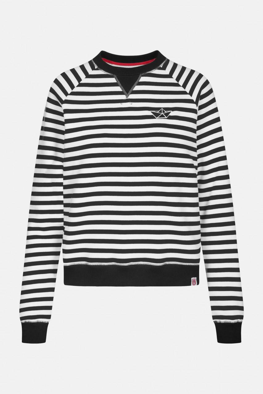 Derbe Sea Crew Damen Pullover Schwarz Weiß Gestreift