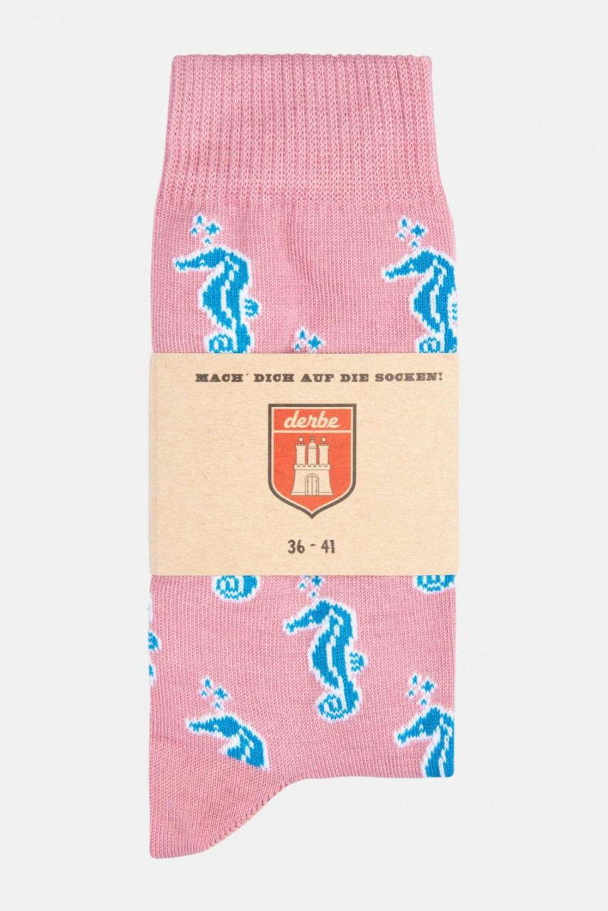 Derbe Damen Socken Seahorse Rosa Blau Seepferdchen (Gr. 36-41)
