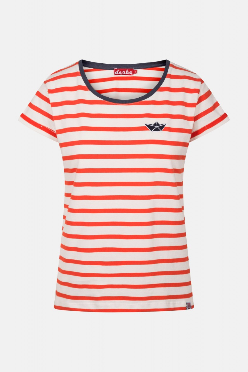 Derbe Streifenshirt Small Ship Rot Damen Kurzarm