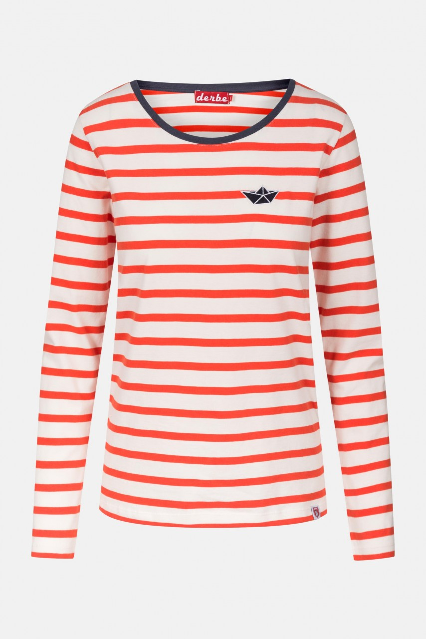 Derbe Small Ship LS Cherry Tomato Langarm Shirt Rot