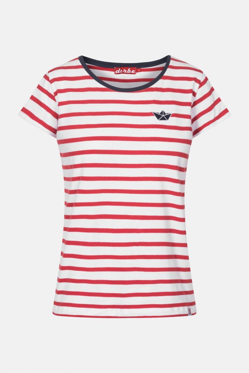 Derbe Small Ship Rot Damen T-Shirt Streifenshirt Bio Baumwolle