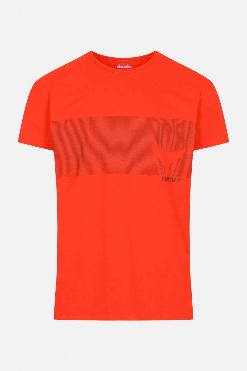 Derbe Sonus Fluctus Herren Shirt Gots Organic Sea Shepherd Cherry Tomato Rot Wellen Flosse